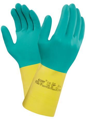 bda57cc086049 Rukavice ANSELL-BI-COLOUR 87-900, kyselinovzdorné rukavice, kombinácia žltý  latex